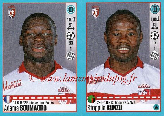 2016-17 - Panini Ligue 1 Stickers - N° 280 + 281 - Adama SOUMAORO + Stoppila SUNZU (Lille)