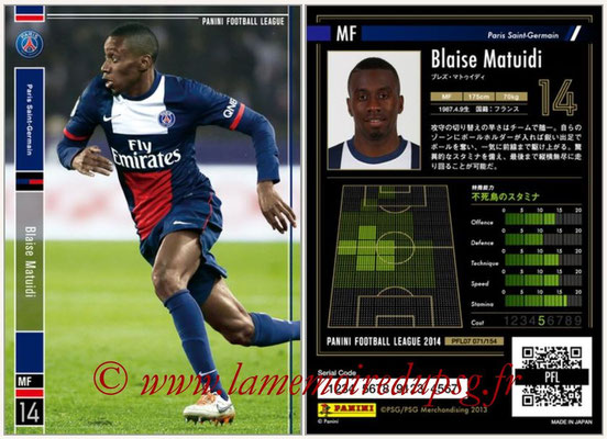 Panini Football League 2014 - PFL07 - N° 071 - Blaise MATUIDI (Paris Saint-Germain)