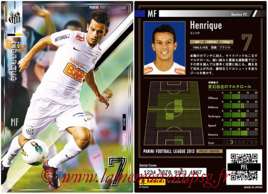 Panini Football League 2013 - PFL01 - N° 105 - Henrique ( Santos FC )