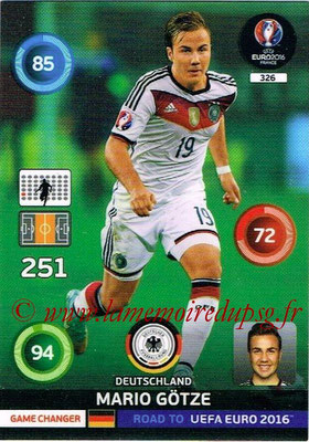Panini Road to Euro 2016 Cards - N° 326 - Mario GOTZE (Allemagne) (Game Changer)