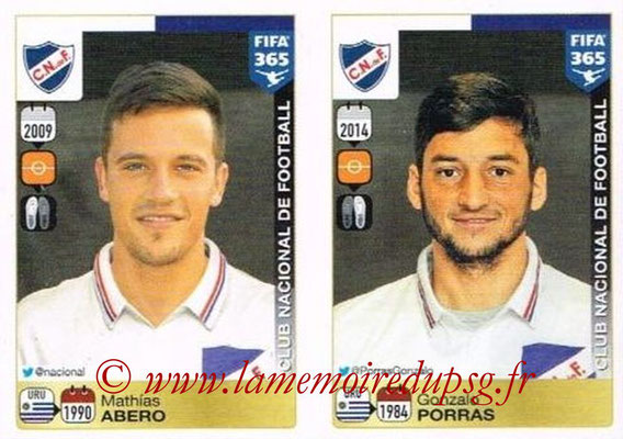 2015-16 - Panini FIFA 365 Stickers - N° 800-801 - Mathías ABERO + Gonzalo PORRAS (Club Nacional de Football)