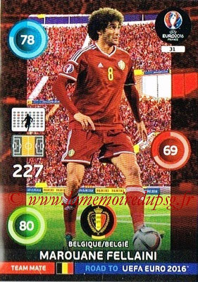 Panini Road to Euro 2016 Cards - N° 031 - Marouane FELLAINI (Belgique)