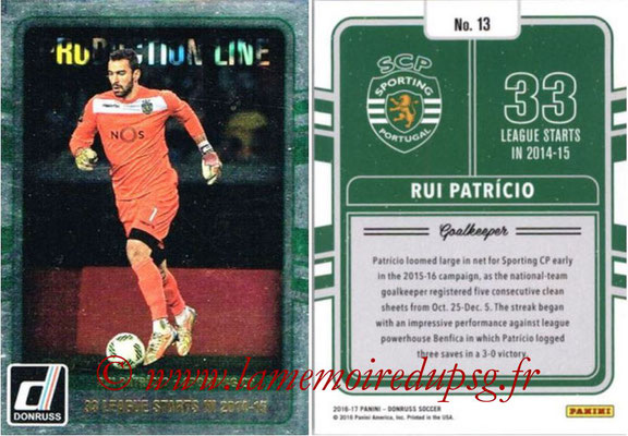 2016 - Panini Donruss Cards - N° PL13 - Rui PATRICIO (Sporting CP) (Production Line)