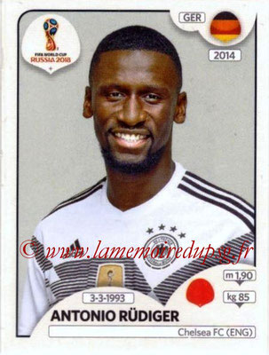 2018 - Panini FIFA World Cup Russia Stickers - N° 436 - Antonio RUDIGER (Allemagne)