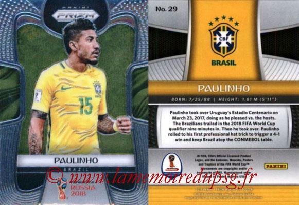 2018 - Panini Prizm FIFA World Cup Russia - N° 029 - PAULINHO (Bresil)