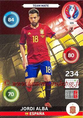 Panini Euro 2016 Cards - N° 105 - Jordi ALBA (Espagne)