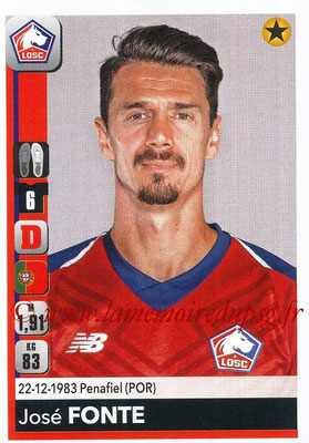2018-19 - Panini Ligue 1 Stickers - N° 155 - José FONTE (Lille)