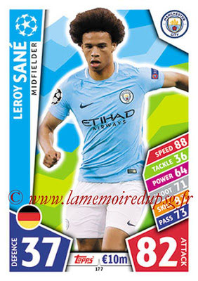 2017-18 - Topps UEFA Champions League Match Attax - N° 177 - Leroy SANE (Manchester City FC)