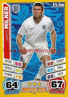 Topps Match Attax England 2014 - N° 090 - James MILNER (Angleterre)