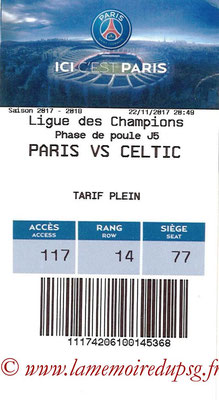 Tickets  PSG-Celtic  2017-18