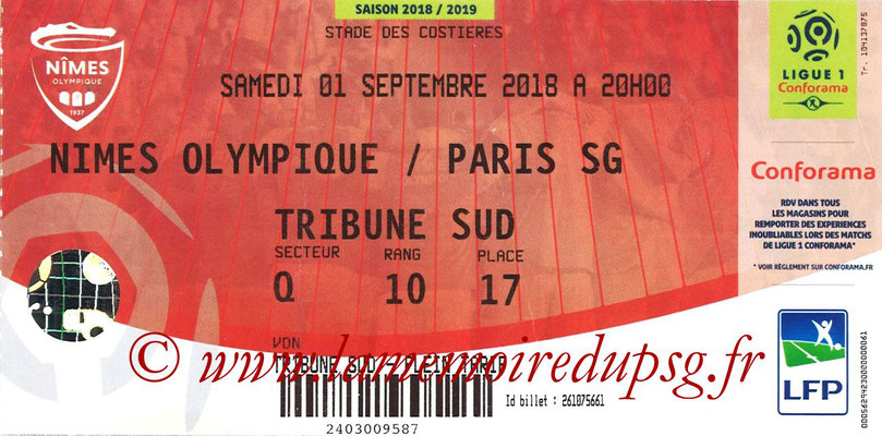 Ticket  Nîmes-PSG  2018-19