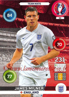 Panini Euro 2016 Cards - N° 090 - James MILNER (Angleterre)