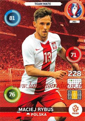 Panini Euro 2016 Cards - N° 251 - Maciej RYBUS (Pologne)