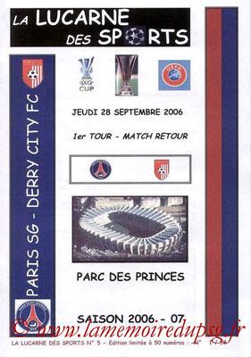 Programmes pirates  PSG-Derry City  2006-07