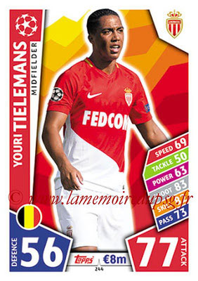 2017-18 - Topps UEFA Champions League Match Attax - N° 244 - Youri TIELEMANS (AS Monaco)