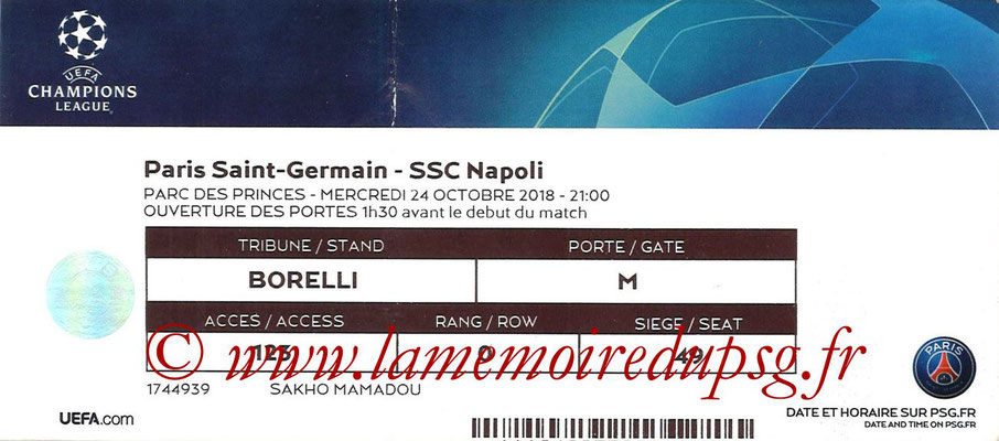 Ticket  PSG-Naples  2018-19