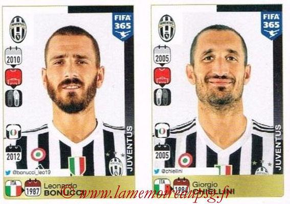 2015-16 - Panini FIFA 365 Stickers - N° 554-555 - Leonardo BONUCCI + Giorgio CHIELLINI (Juventus FC)