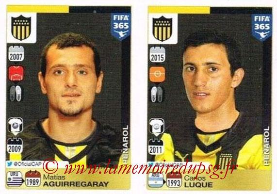 2015-16 - Panini FIFA 365 Stickers - N° 828-829 - Matías AGUIRREGARAY + Carlos LUQUE (Penarol)