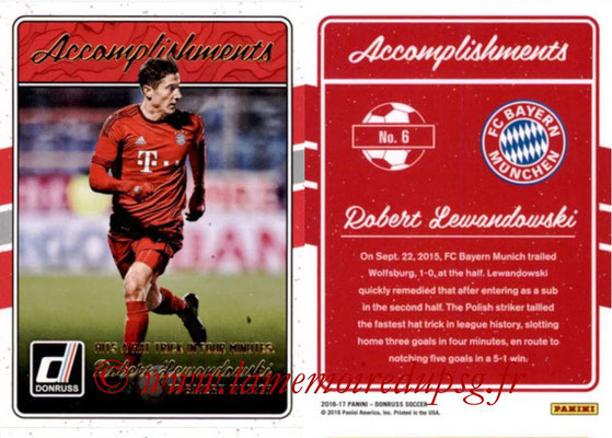 2016 - Panini Donruss Cards - N° A06 - Robert LEWANDOWSKI (FC Bayern Munich) (Accomplishments)