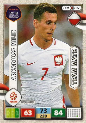 2018 - Panini Road to FIFA World Cup Russia Adrenalyn XL - N° POL17 - Arkadiusz MILIK (Pologne)
