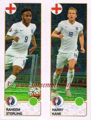 Panini Euro 2016 Stickers - N° 154 - Raheem STERLING + Harry KANE (Angleterre)
