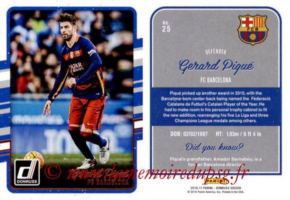 2016 - Panini Donruss Cards - N° 025 - Gerard PIQUE (FC Barcelone)