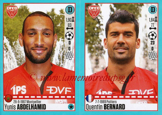 2016-17 - Panini Ligue 1 Stickers - N° 190 + 191 - Yunis ABDELHAMID + Quentin BERNARD (Dijon)