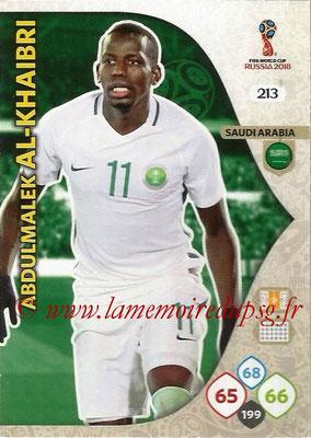 2018 - Panini FIFA World Cup Russia Adrenalyn XL - N° 213 - Abdulmalek AL-KHAIBRI (Arabie Saoudite)