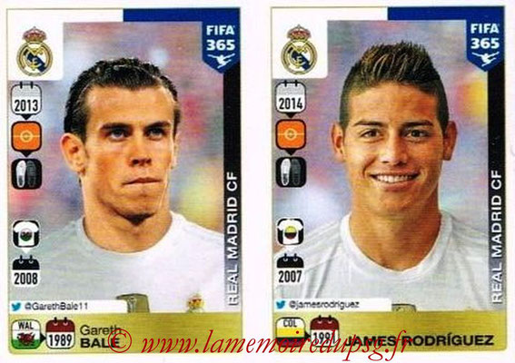 2015-16 - Panini FIFA 365 Stickers - N° 395-396 - Gareth BALE + James RODRIGUEZ (Real Madrid CF)
