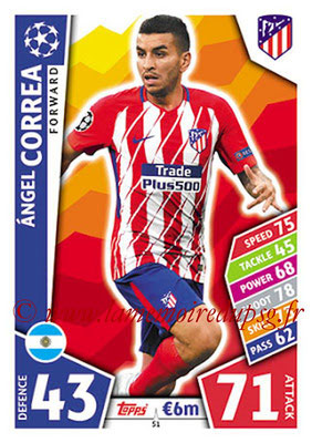 2017-18 - Topps UEFA Champions League Match Attax - N° 051 - Angel CORREA (Club Atletico de Madrid)