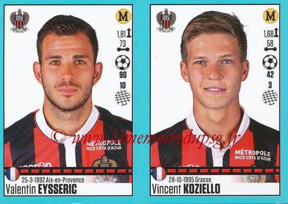 2016-17 - Panini Ligue 1 Stickers - N° 662 + 663 - Valentin EYSSERIC + Vincent KOZIELLO (Nice)