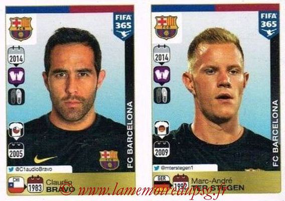 2015-16 - Panini FIFA 365 Stickers - N° 342-343 - Claudio BRAVO + Marc-André TER STEGEN (FC Barcelone)