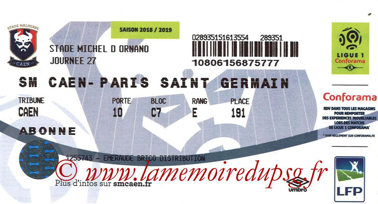 Ticket  Caen-PSG  2018-19