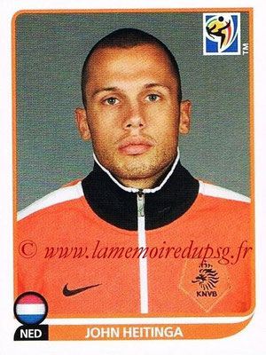 2010 - Panini FIFA World Cup South Africa Stickers - N° 339 - John HEITINGA (Pays Bas)