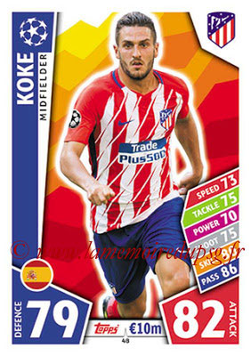 2017-18 - Topps UEFA Champions League Match Attax - N° 048 - KOKE (Club Atletico de Madrid)