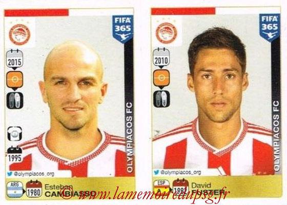 2015-16 - Panini FIFA 365 Stickers - N° 543-544 - Esteban CAMBIASSO + David FUSTER (Olympiacos FC)