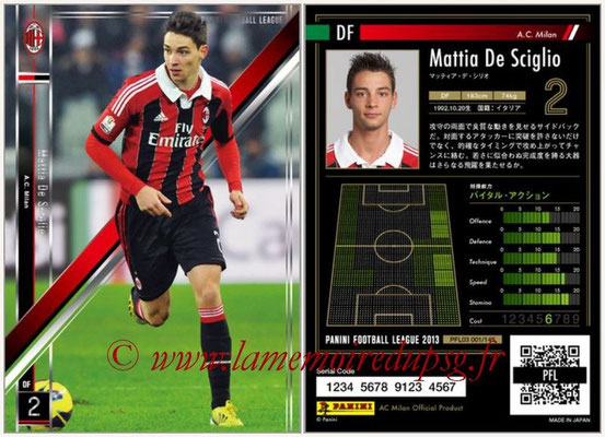 Panini Football League 2013 - PFL03 - N° 001 - Mattia De Sciglio (Milan AC)
