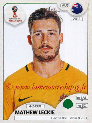 2018 - Panini FIFA World Cup Russia Stickers - N° 229 - Mathew LECKIE (Australie)