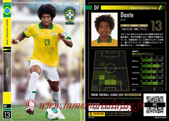 Panini Football League 2014 - PFL07 - N° 111 - DANTE (Bresil)