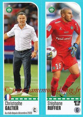 2016-17 - Panini Ligue 1 Stickers - N° 764 + 765 - Christophe GALTIER + Stéphane RUFFIER (Saint-Etienne)