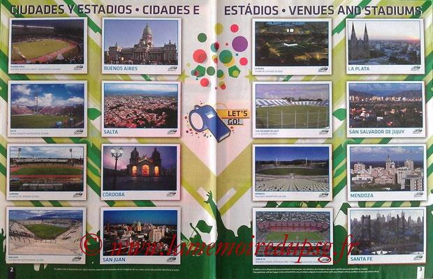 Panini Copa América Argentina 2011 - Pages 02 et 03 - Villes et Stades