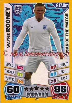 Topps Match Attax England 2014 - N° 250 - Wayne ROONEY (Angleterre) (Man Of The Match)