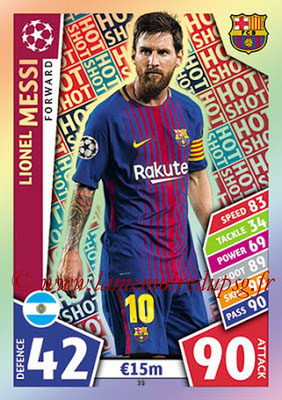 2017-18 - Topps UEFA Champions League Match Attax - N° 035 - Lionel MESSI (FC Barcelone) (Hot Shot)