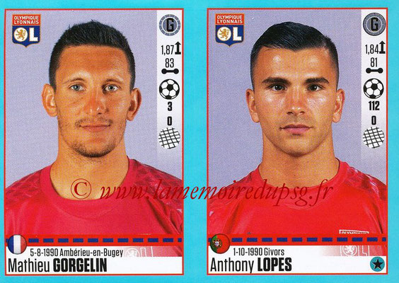 2016-17 - Panini Ligue 1 Stickers - N° 356 + 357 - Mathieu GORGELIN + Anthony LOPES (Lyon)