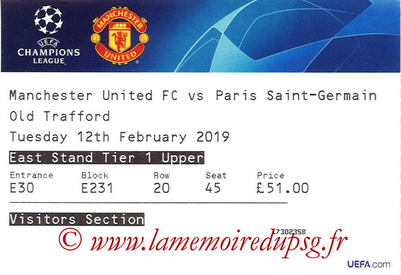 Ticket  Manchester United-PSG  2018-19