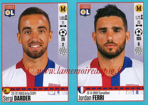2016-17 - Panini Ligue 1 Stickers - N° 366 + 367 - Sergi DARDER + Jordan FERRI (Lyon)