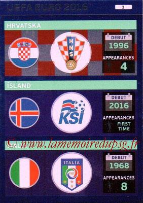 Panini Euro 2016 Cards - N° 003 - Equipes Croatie + Islande + Italie