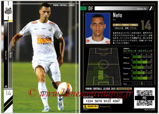 Panini Football League 2013 - PFL03 - N° 074 - Neto (FC Santos)
