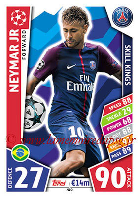 2017-18 - Topps UEFA Champions League Match Attax - N° N10 - NEYMAR Jr (Paris Saint-Germain) (Skill Kings) (Nordic Edition)