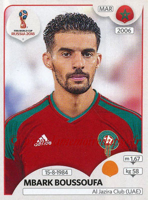 2018 - Panini FIFA World Cup Russia Stickers - N° 161 - Mbark BOUSSOUFA (Maroc)